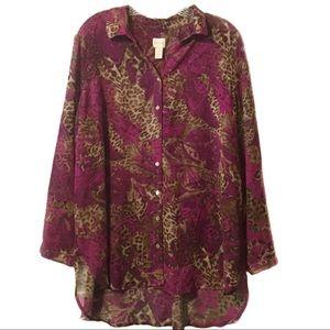 Chico's pink tan high low hem sheer blouse 3 (16)